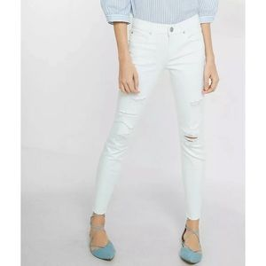 Express White Distressed High Rise Skinny Jeans